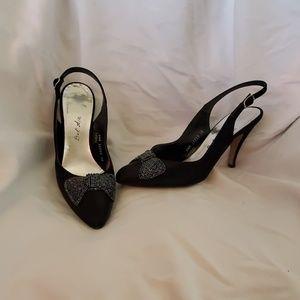 Black satan sequin heels